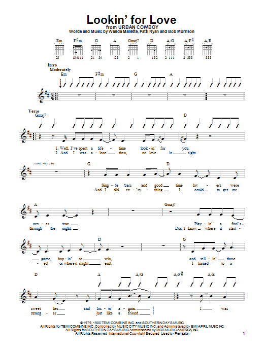 Download Johnny Lee Lookin' For Love sheet music and printable PDF score & Country music notes