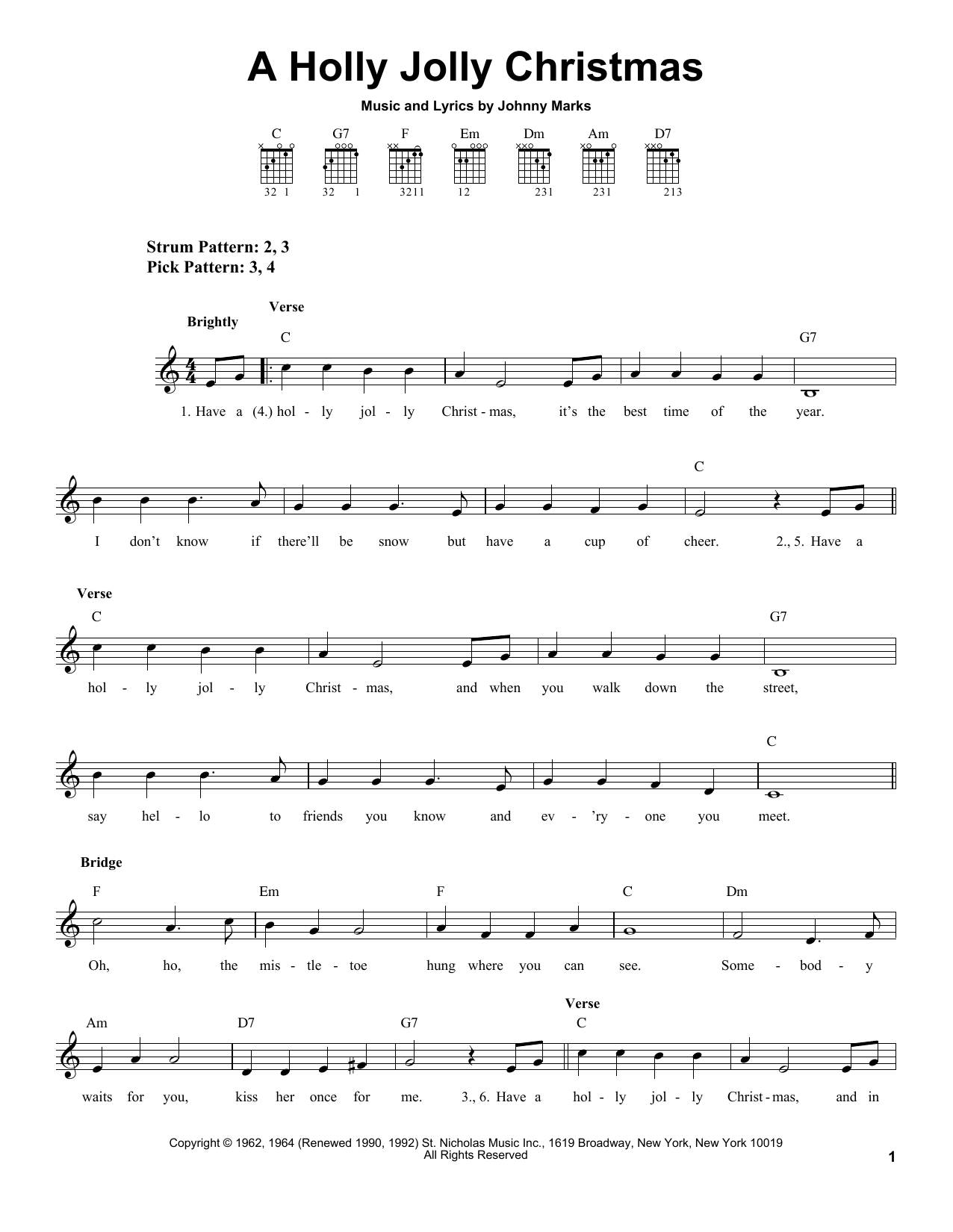 Download Johnny Marks A Holly Jolly Christmas sheet music and printable PDF score & Christmas music notes