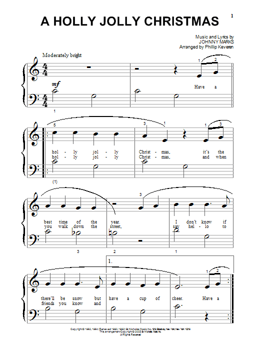 Download Johnny Marks A Holly Jolly Christmas (arr. Phillip Keveren) sheet music and printable PDF score & Christmas music notes