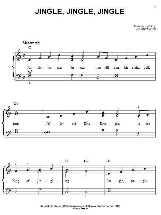Download Johnny Marks Jingle, Jingle, Jingle sheet music and printable PDF score & Children music notes