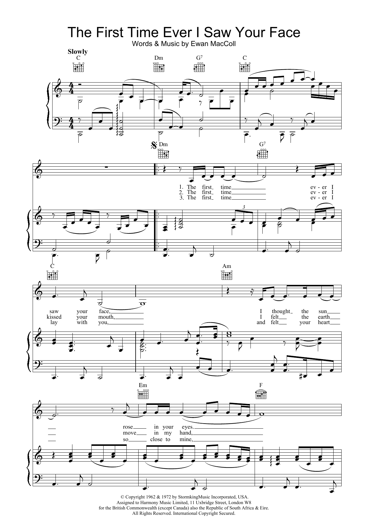Download Johnny Mathis The First Time Ever I Saw Your Face sheet music and printable PDF score & Easy Listening music notes