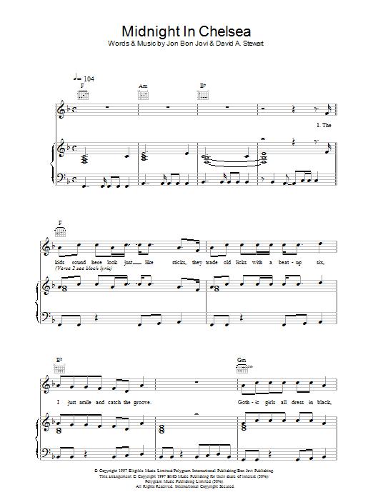 Download Jon Bon Jovi Midnight In Chelsea sheet music and printable PDF score & Rock music notes