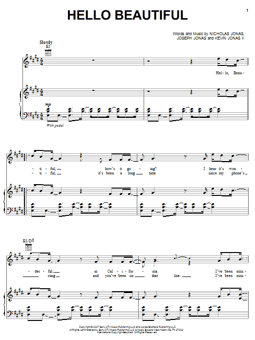 Download Jonas Brothers Hello Beautiful sheet music and printable PDF score & Pop music notes