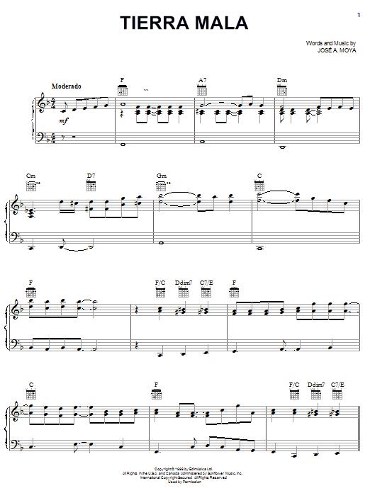 Download José A. Moya Tierra Mala sheet music and printable PDF score & World music notes