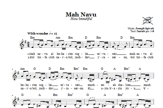 Download Joseph Spivak Mah Navu (How beautiful) sheet music and printable PDF score & Religious music notes
