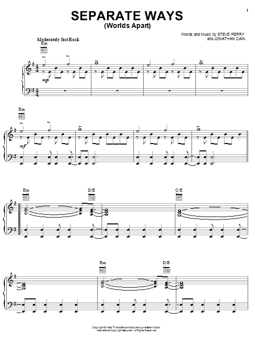 Download Journey Separate Ways (Worlds Apart) sheet music and printable PDF score & Rock music notes