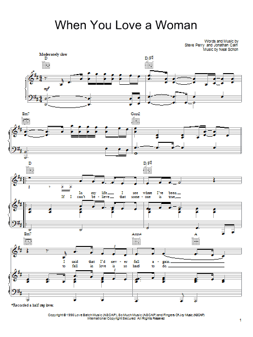 Download Journey When You Love A Woman sheet music and printable PDF score & Rock music notes