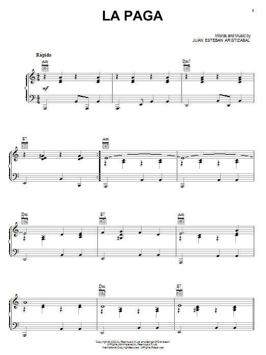Download Juanes La Paga sheet music and printable PDF score & Pop music notes