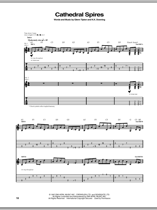 Download Judas Priest Cathedral Spires sheet music and printable PDF score & Pop music notes