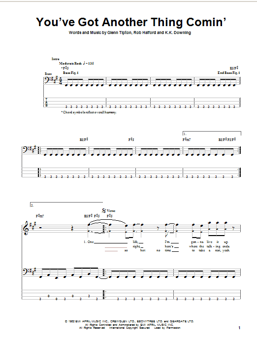 Download Judas Priest You've Got Another Thing Comin' sheet music and printable PDF score & Pop music notes