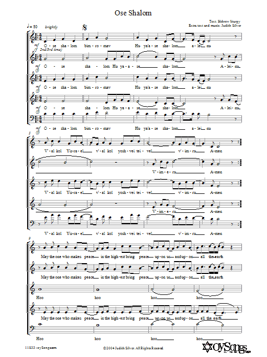Download Judith Silver Ose Shalom sheet music and printable PDF score & Religious music notes