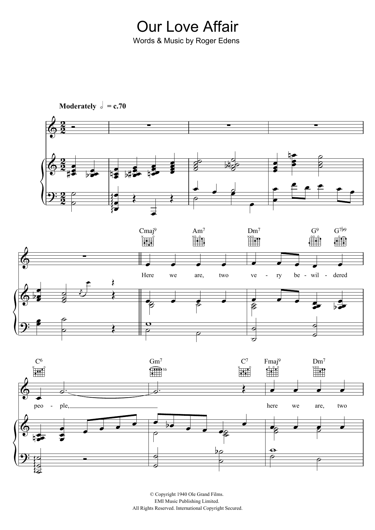 Download Judy Garland Our Love Affair sheet music and printable PDF score & Easy Listening music notes