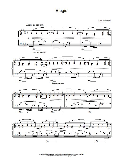 Download Jules Massenet Elegie sheet music and printable PDF score & Classical music notes