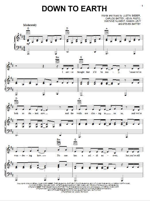 Download Justin Bieber Down To Earth sheet music and printable PDF score & Pop music notes