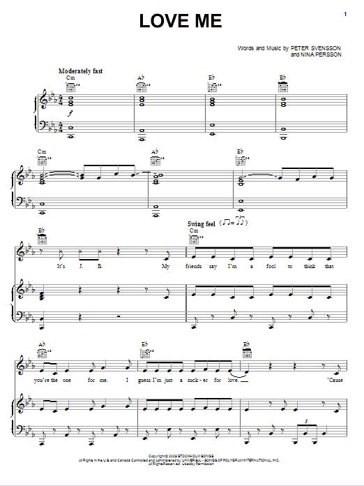 Download Justin Bieber Love Me sheet music and printable PDF score & Pop music notes