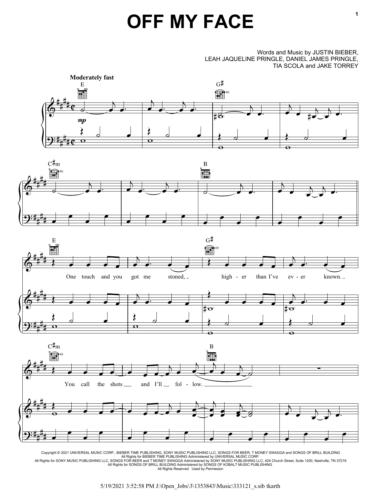 Download Justin Bieber Off My Face sheet music and printable PDF score & Pop music notes