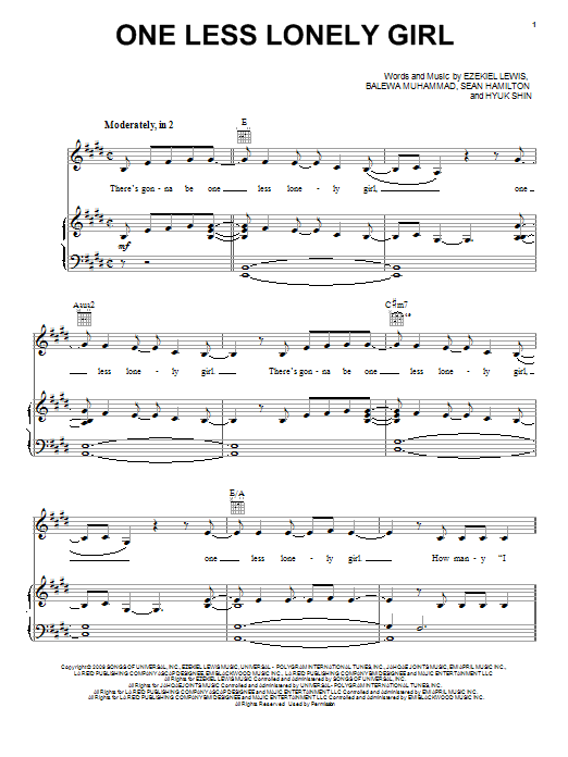 Download Justin Bieber One Less Lonely Girl sheet music and printable PDF score & Pop music notes