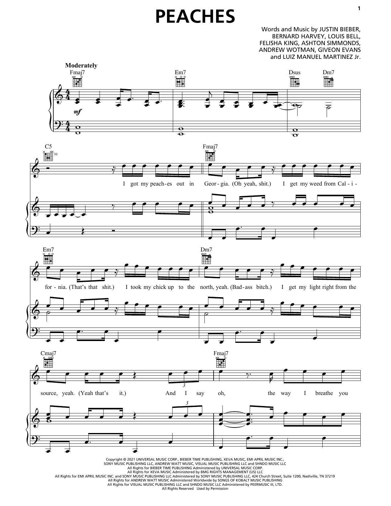 Download Justin Bieber Peaches (feat. Daniel Caesar & Giveon) sheet music and printable PDF score & R & B music notes