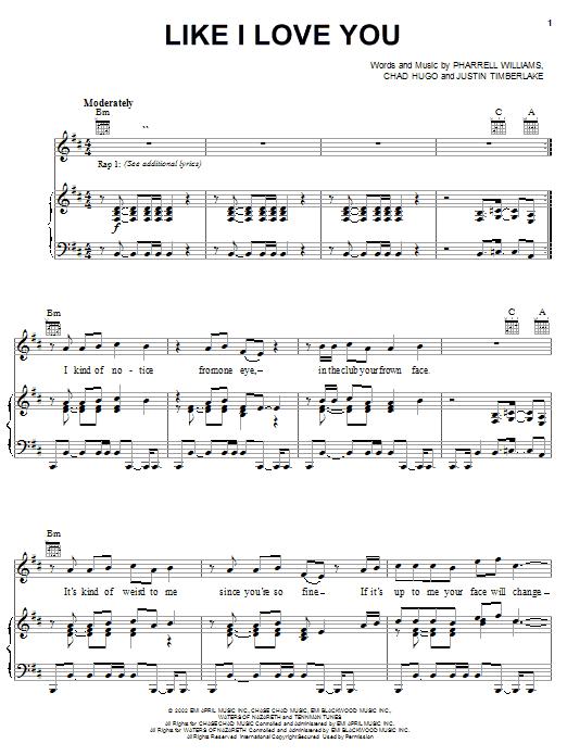 Download Justin Timberlake Like I Love You sheet music and printable PDF score & Pop music notes