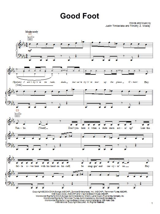 Download Timbaland Good Foot (feat. Justin Timberlake) sheet music and printable PDF score & Pop music notes