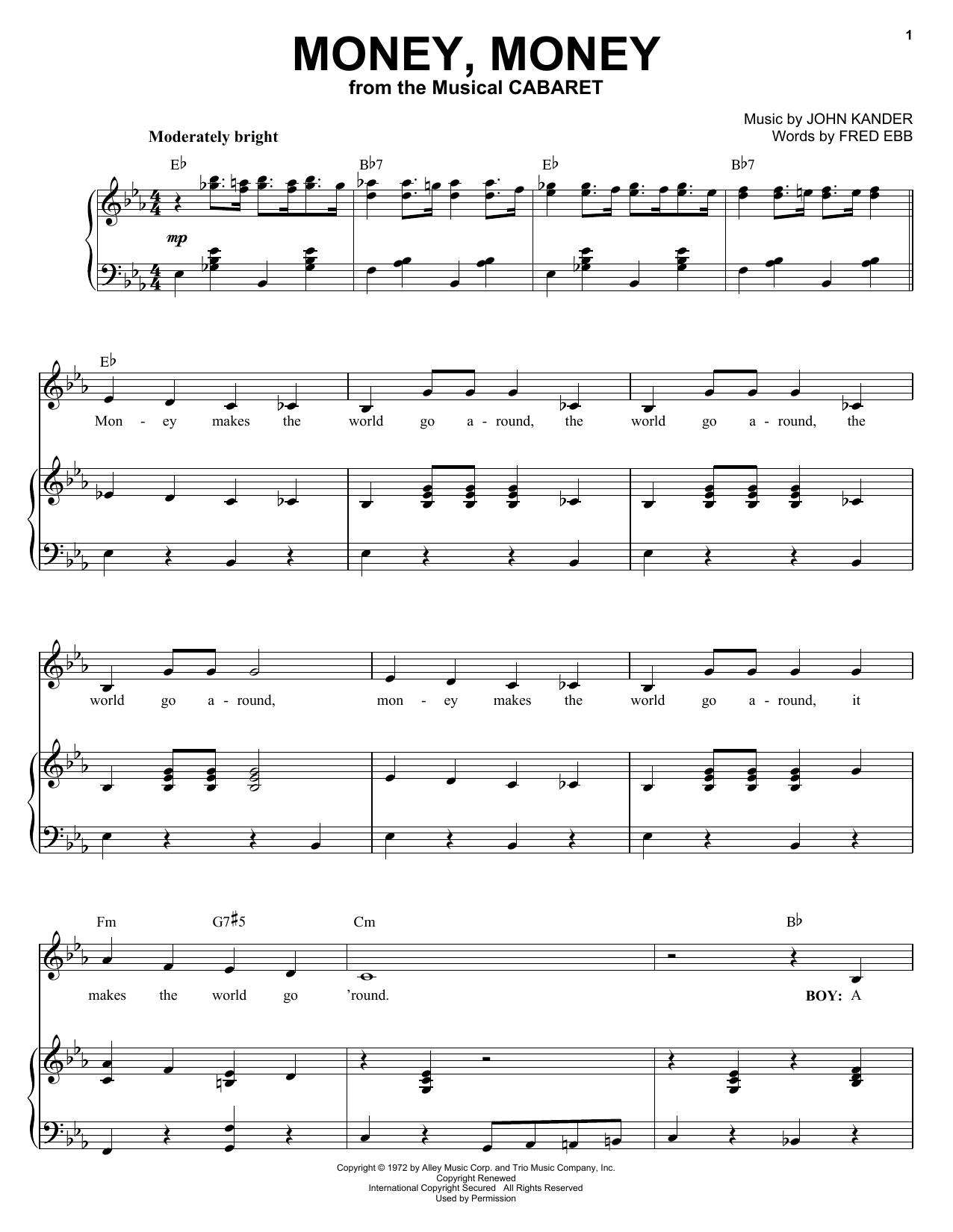 Download Kander & Ebb Money, Money sheet music and printable PDF score & Broadway music notes