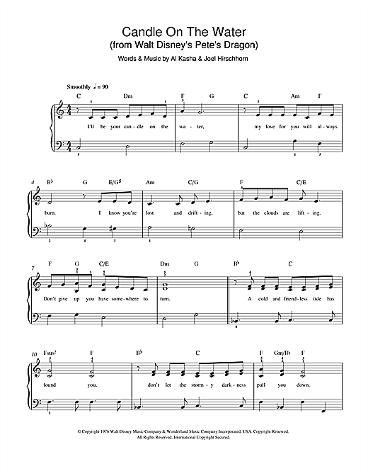 Download Kasha & Hirschhorn Candle On The Water (from Walt Disney's Pete's Dragon) sheet music and printable PDF score & Disney music notes