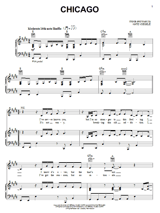 Download Kate Voegele Chicago sheet music and printable PDF score & Rock music notes