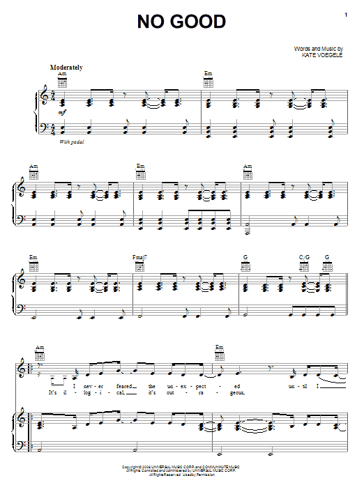 Download Kate Voegele No Good sheet music and printable PDF score & Rock music notes