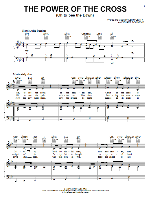 Download Stuart Townend The Power Of The Cross (Oh To See The Dawn) sheet music and printable PDF score & Pop music notes