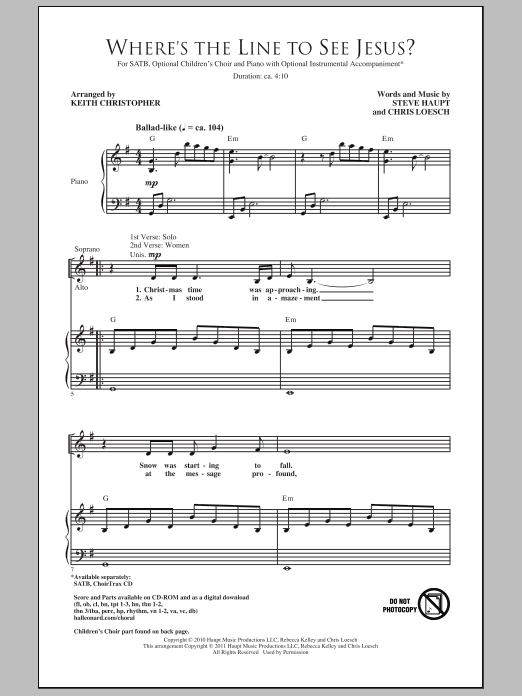 Download Keith Christopher Where's The Line To See Jesus? sheet music and printable PDF score & Sacred music notes