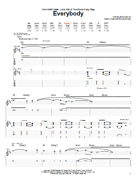 Download Keith Urban Everybody sheet music and printable PDF score & Pop music notes