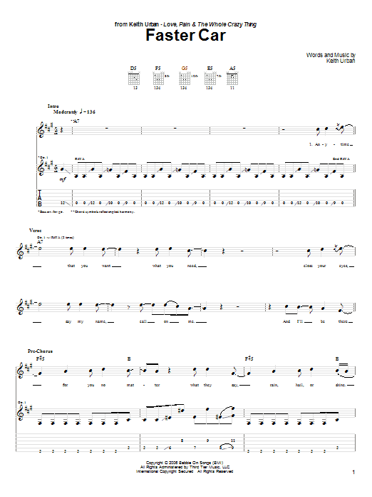 Download Keith Urban Faster Car sheet music and printable PDF score & Pop music notes