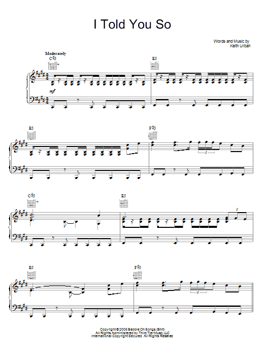 Download Keith Urban I Told You So sheet music and printable PDF score & Pop music notes