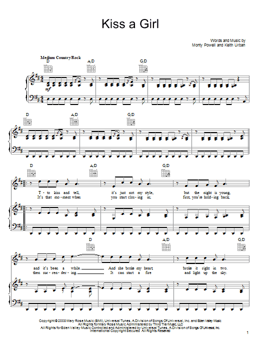 Download Keith Urban Kiss A Girl sheet music and printable PDF score & Pop music notes
