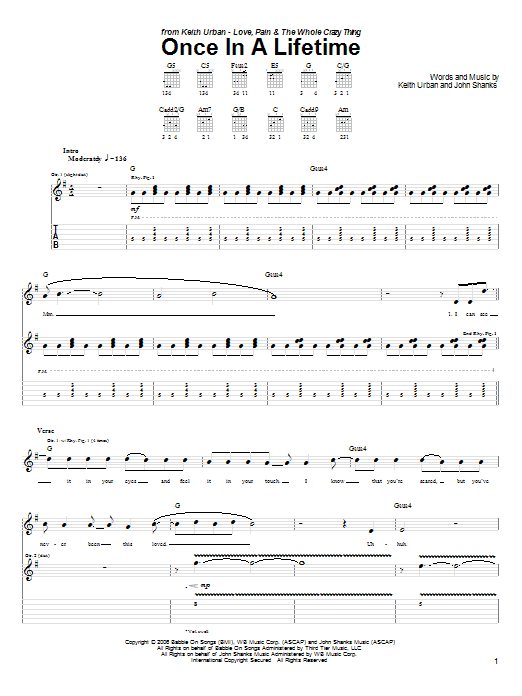 Download Keith Urban Once In A Lifetime sheet music and printable PDF score & Pop music notes