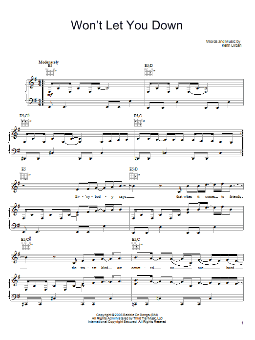 Download Keith Urban Won't Let You Down sheet music and printable PDF score & Pop music notes