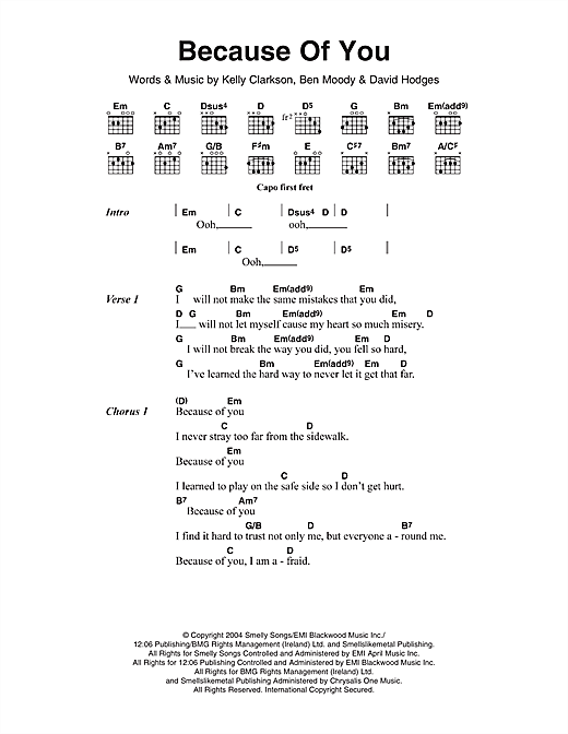 Kelly Clarkson Because Of You Sheet Music Notes Chords Download Printable French Horn Sku 169830