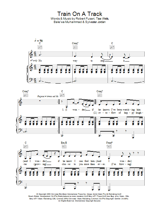 Download Kelly Rowland Train On A Track sheet music and printable PDF score & R & B music notes
