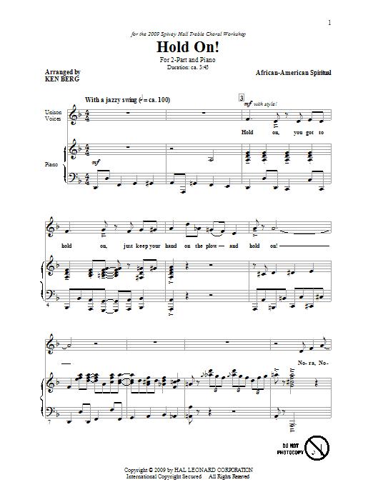 Download Ken Berg Hold On! sheet music and printable PDF score & Jazz music notes