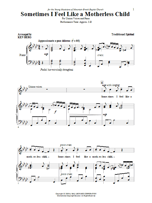 Download Ken Berg Sometimes I Feel Like A Motherless Child sheet music and printable PDF score & Children music notes