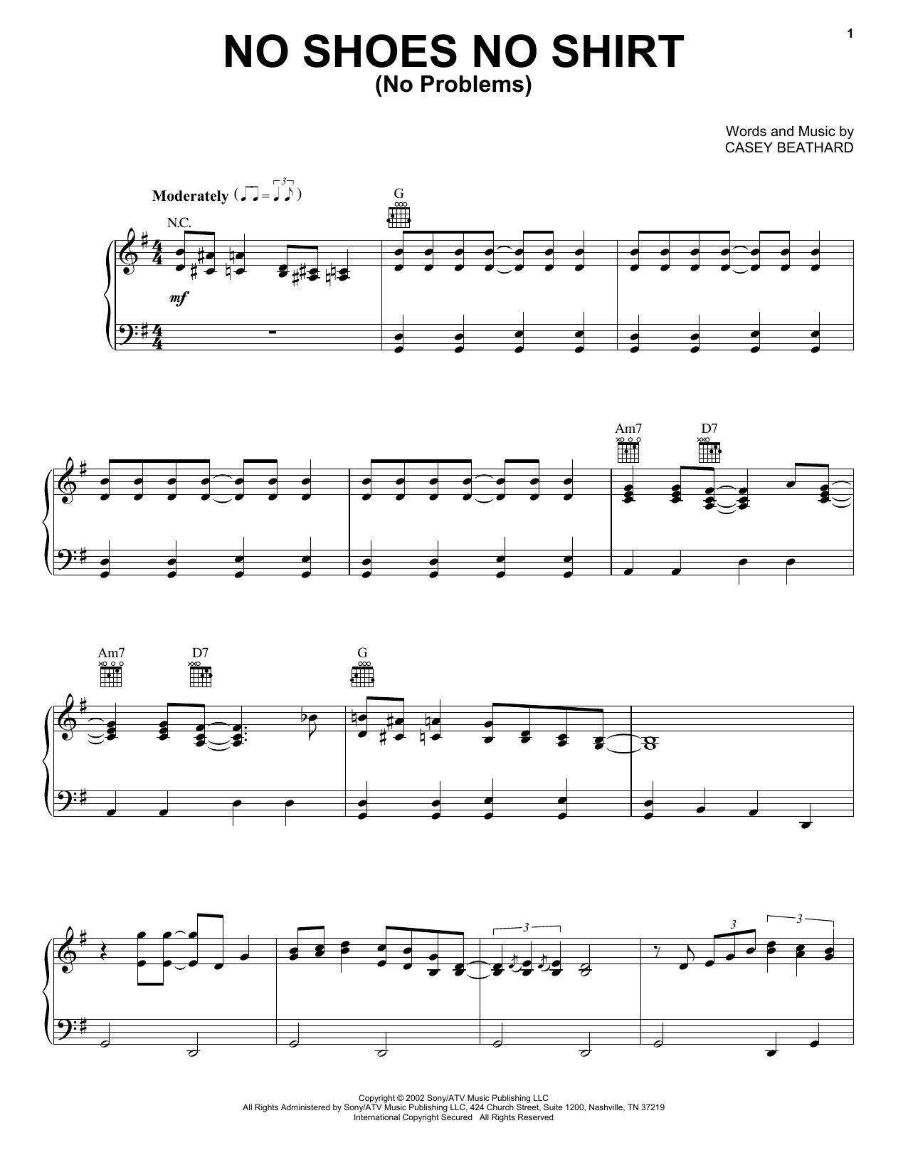 Download Kenny Chesney No Shoes No Shirt (No Problems) sheet music and printable PDF score & Pop music notes