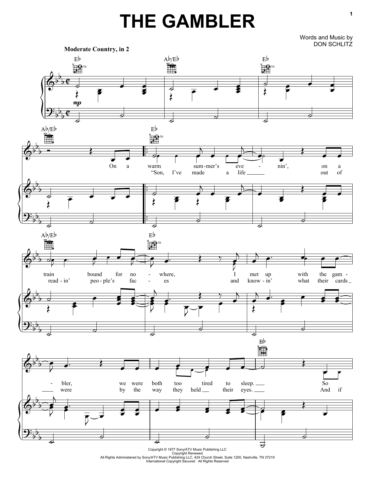Download Kenny Rogers The Gambler sheet music and printable PDF score & Film and TV music notes