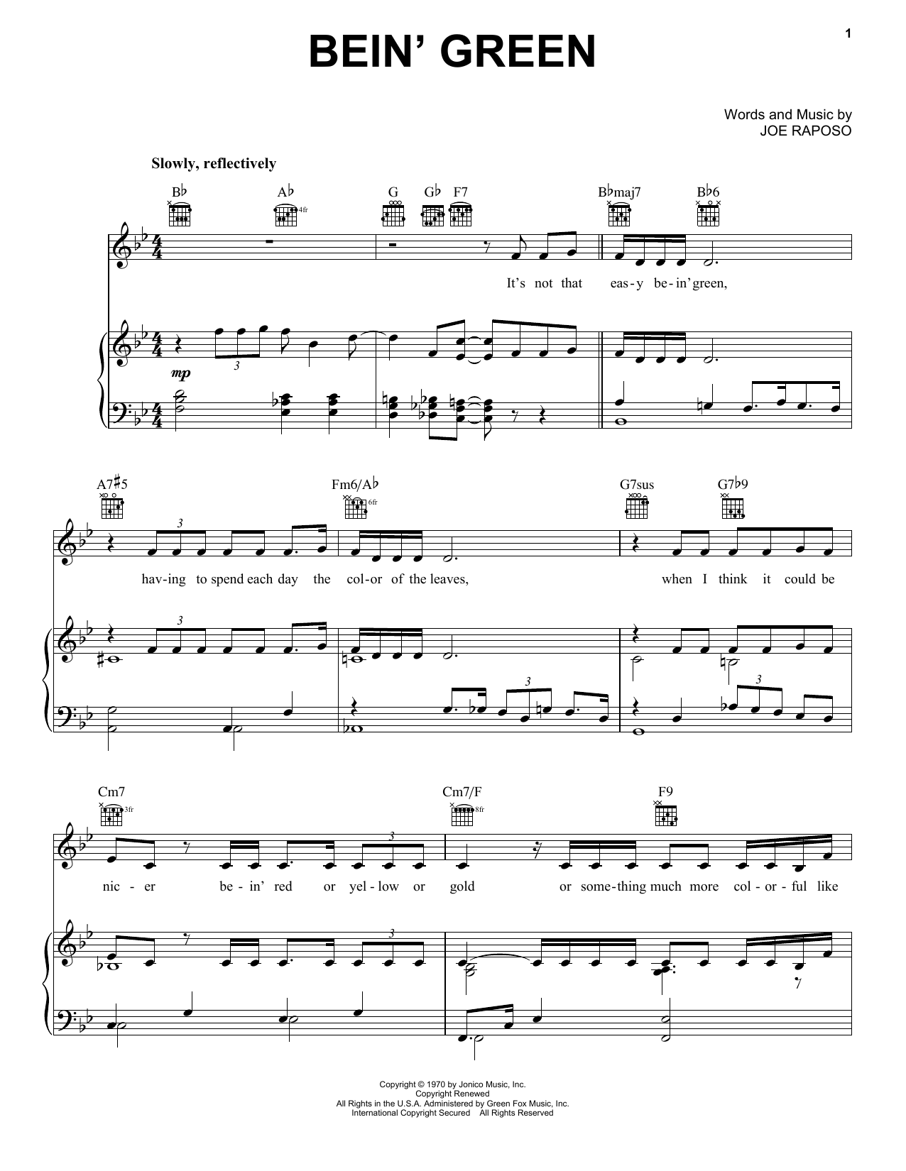 Download Kermit The Frog Bein' Green sheet music and printable PDF score & Country music notes