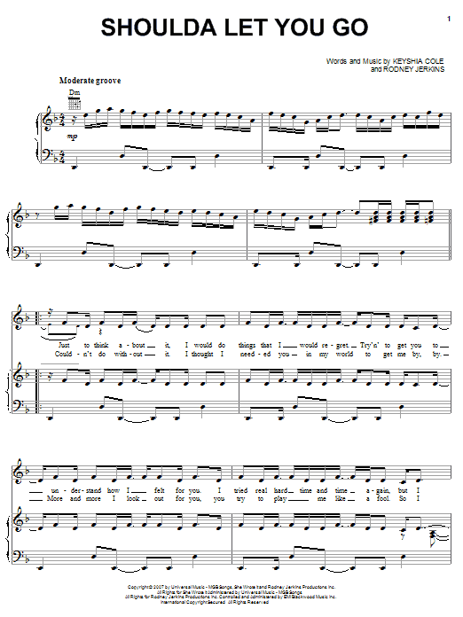 Download Keyshia Cole Introducing Amina Shoulda Let You Go sheet music and printable PDF score & Pop music notes