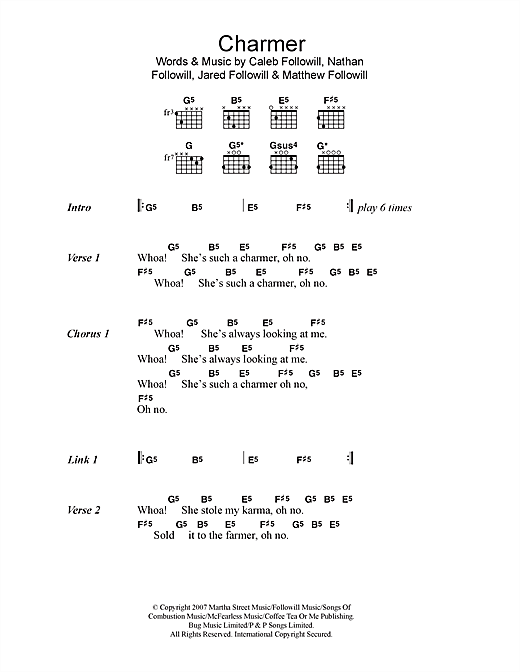 Download Kings Of Leon Charmer sheet music and printable PDF score & Rock music notes