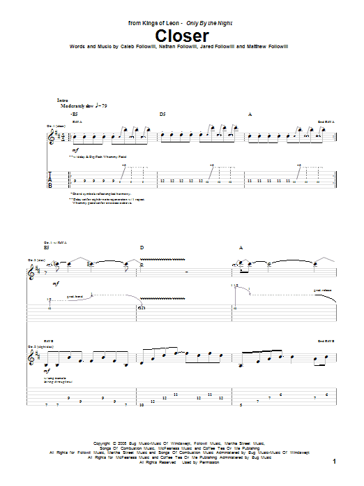 Download Kings Of Leon Closer sheet music and printable PDF score & Rock music notes