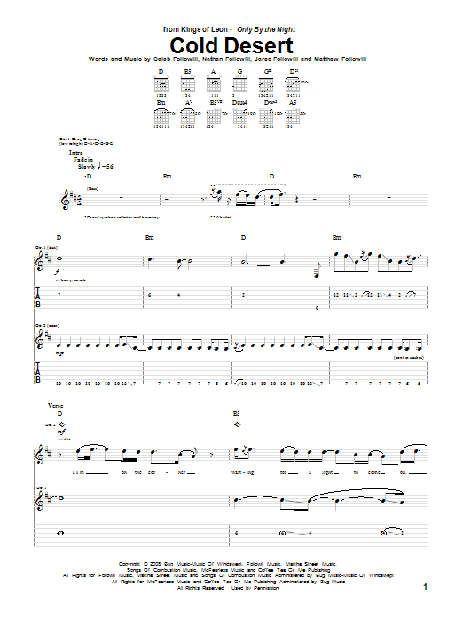 Download Kings Of Leon Cold Desert sheet music and printable PDF score & Rock music notes