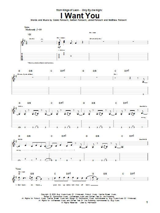 Download Kings Of Leon I Want You sheet music and printable PDF score & Rock music notes