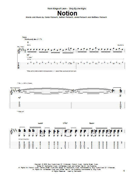 Download Kings Of Leon Notion sheet music and printable PDF score & Rock music notes