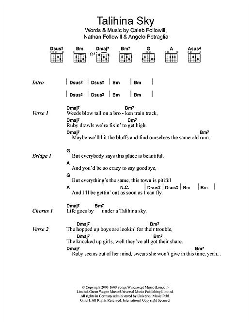 Download Kings Of Leon Talihina Sky sheet music and printable PDF score & Rock music notes